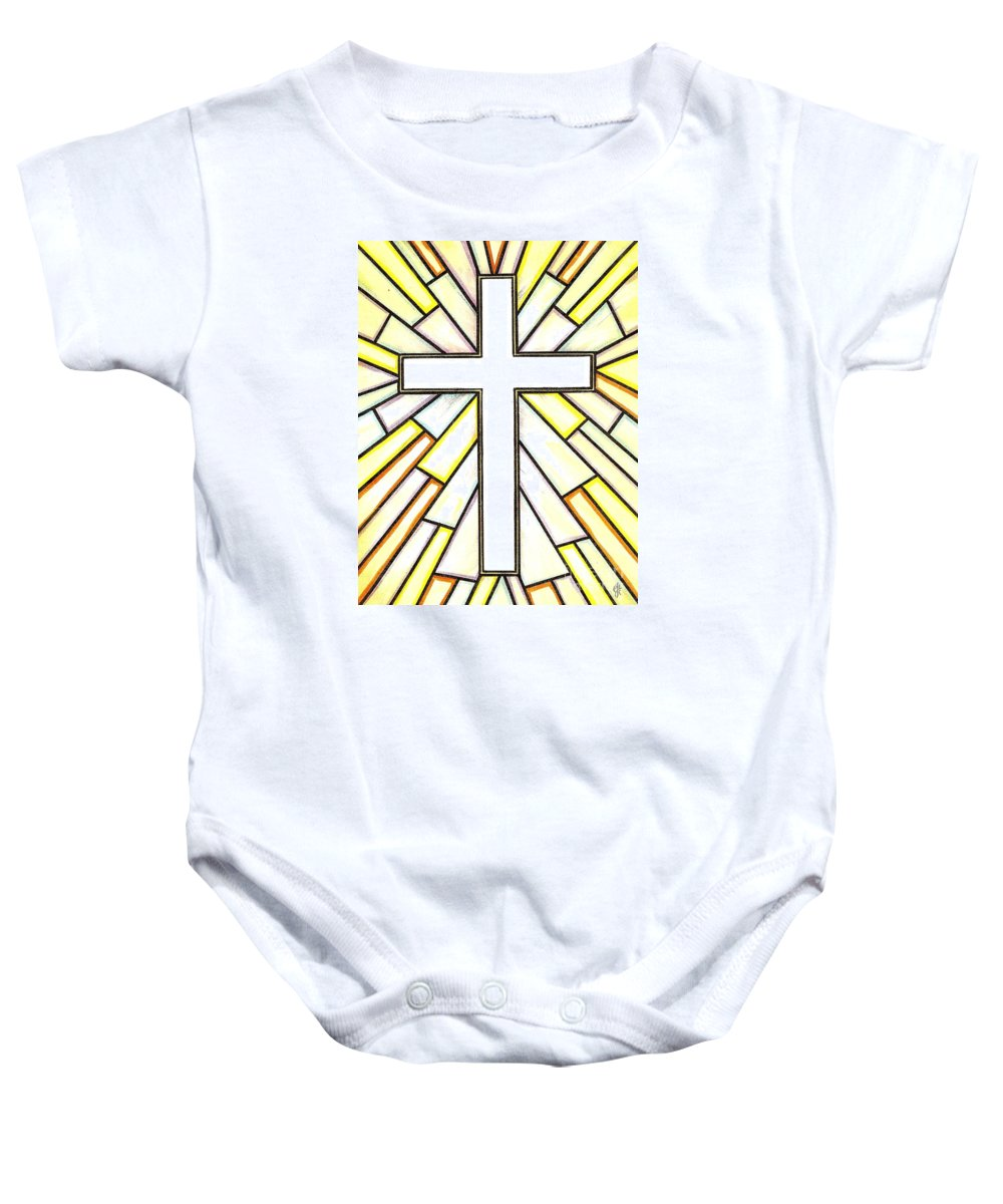 Cross Baby Onesie featuring the painting Easter Cross 3 by Jim Harris