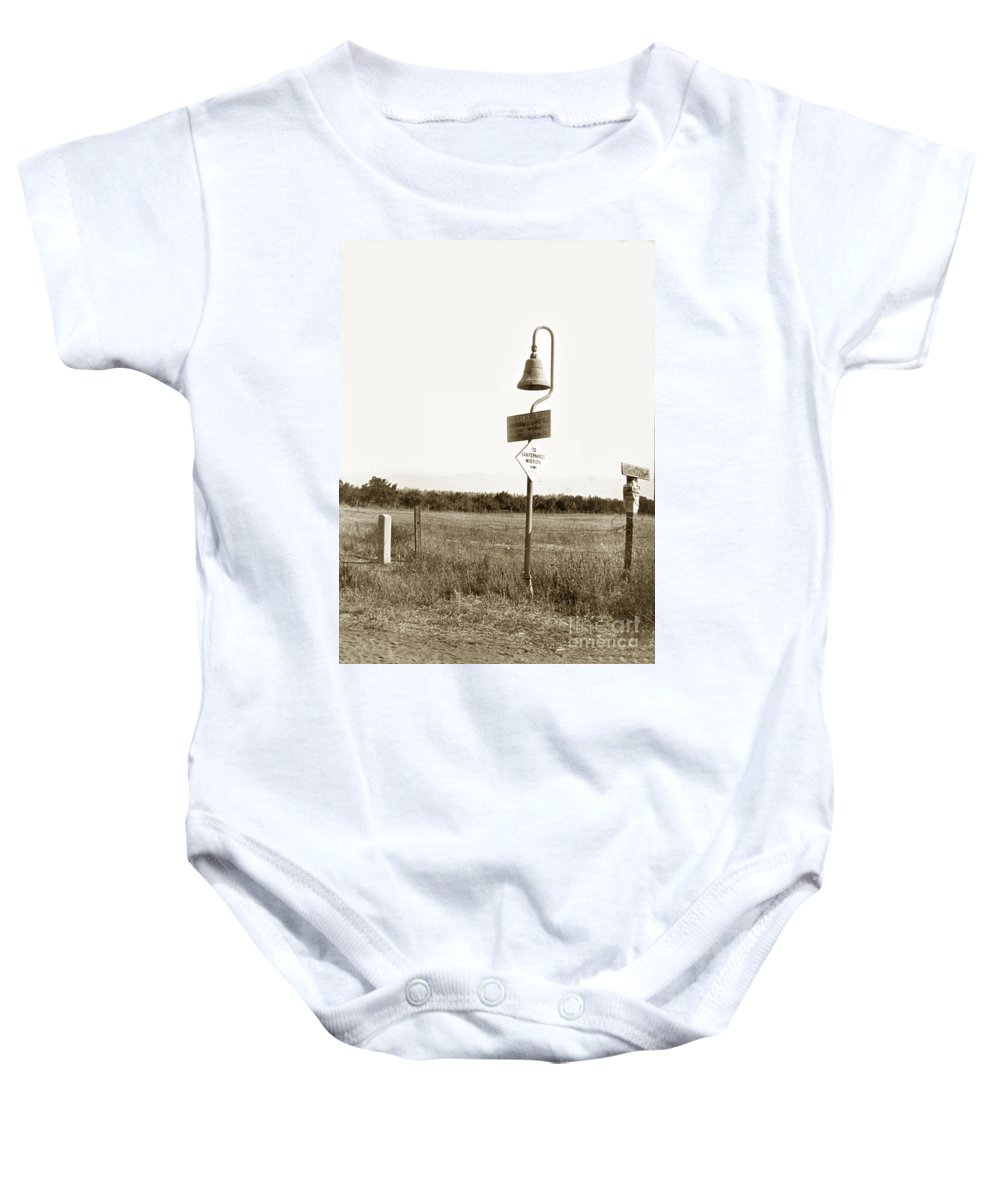 El Camino Real Mission Bell Nea San Fernando Mission Baby Onesie featuring the photograph El Camino Real Mission Bell Near San Fernando Mission California 1906 by California Views Archives Mr Pat Hathaway Archives