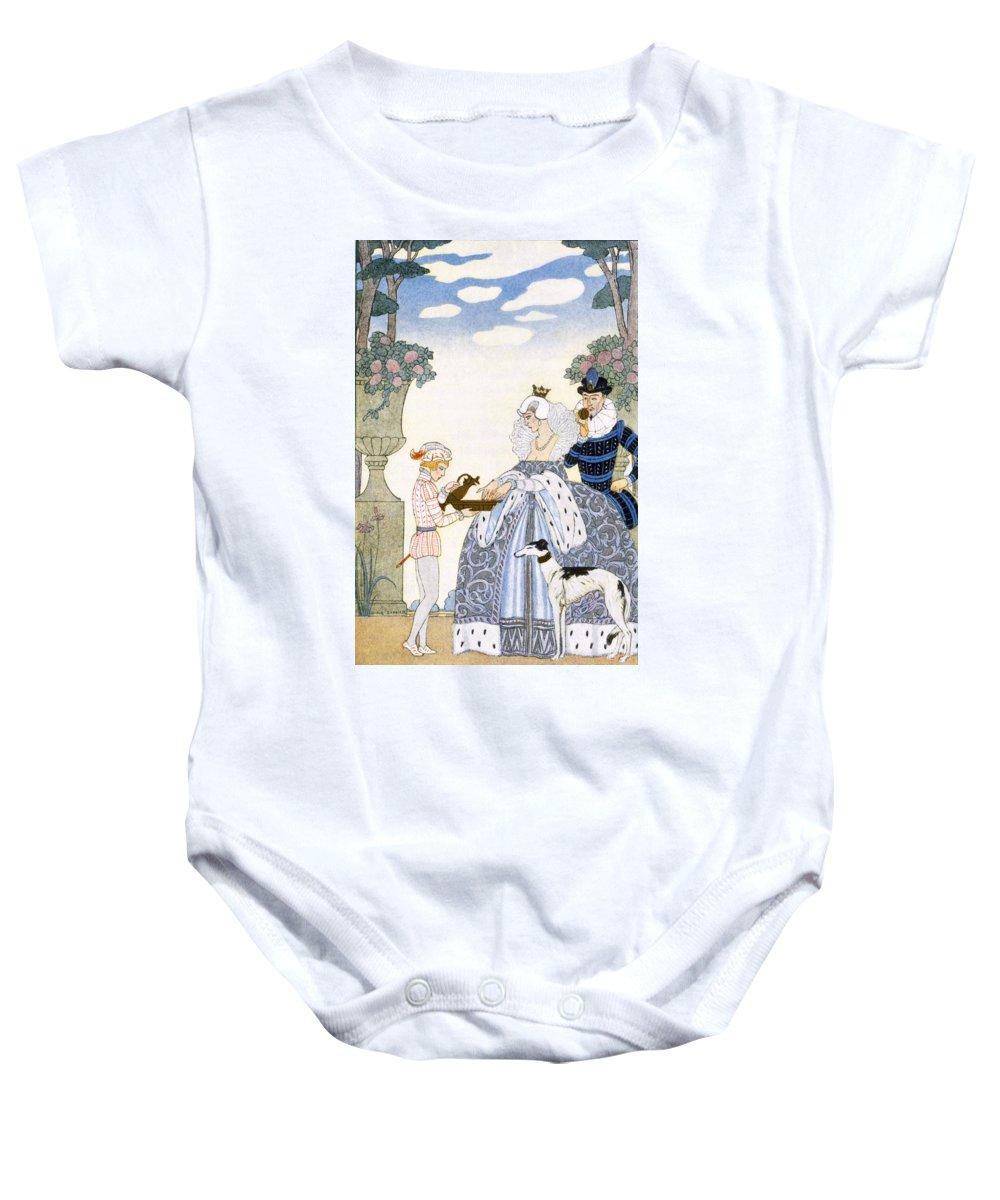 Stencil Baby Onesie featuring the painting Elizabethan England by Georges Barbier