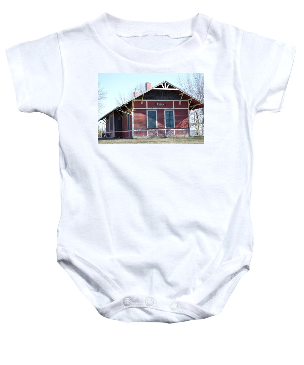 Depot Baby Onesie featuring the photograph Elma Depot by Bonfire Photography