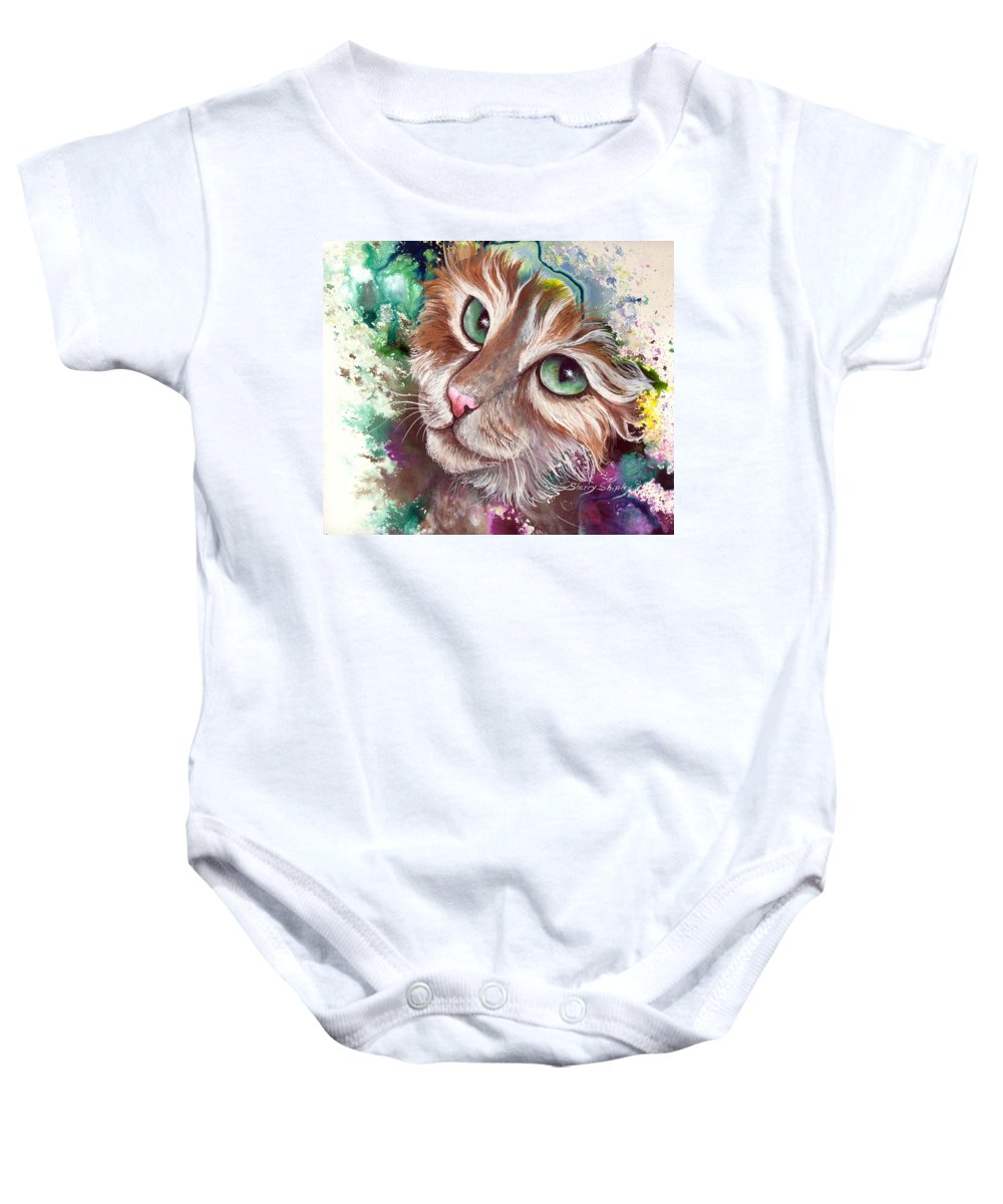 Cat Baby Onesie featuring the painting Emerald Eyes by Sherry Shipley
