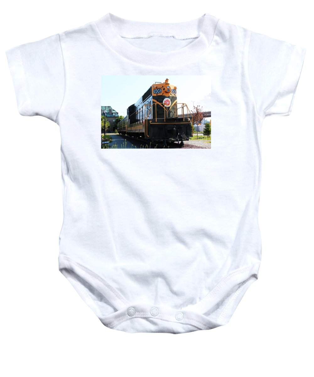 End Of The Line Baby Onesie featuring the photograph End Of The Line by Barbara Griffin