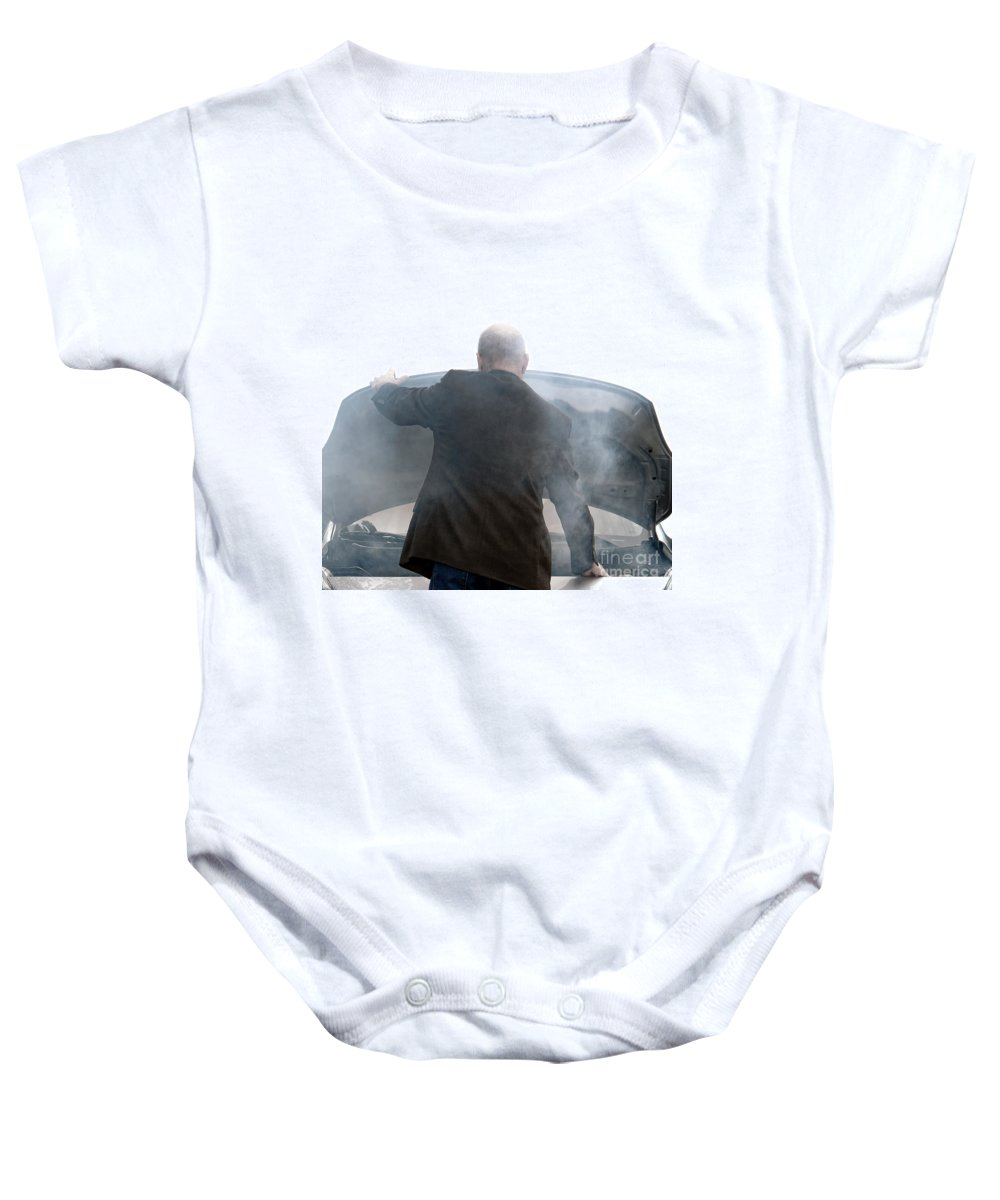 Car Baby Onesie featuring the photograph End Of The Trip by Olivier Le Queinec