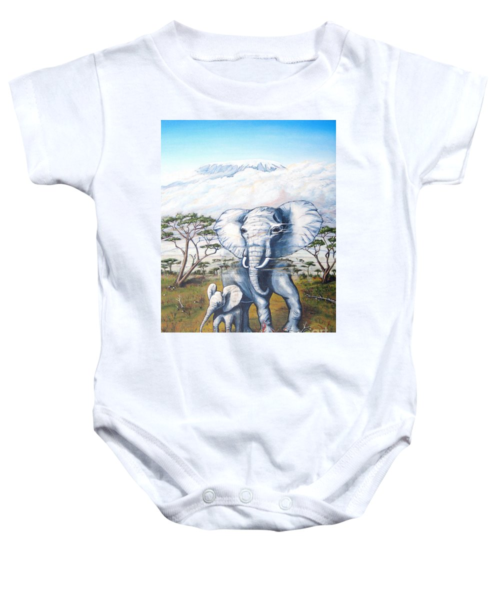 Elephant Baby Onesie featuring the painting Endangered by Jerome Stumphauzer