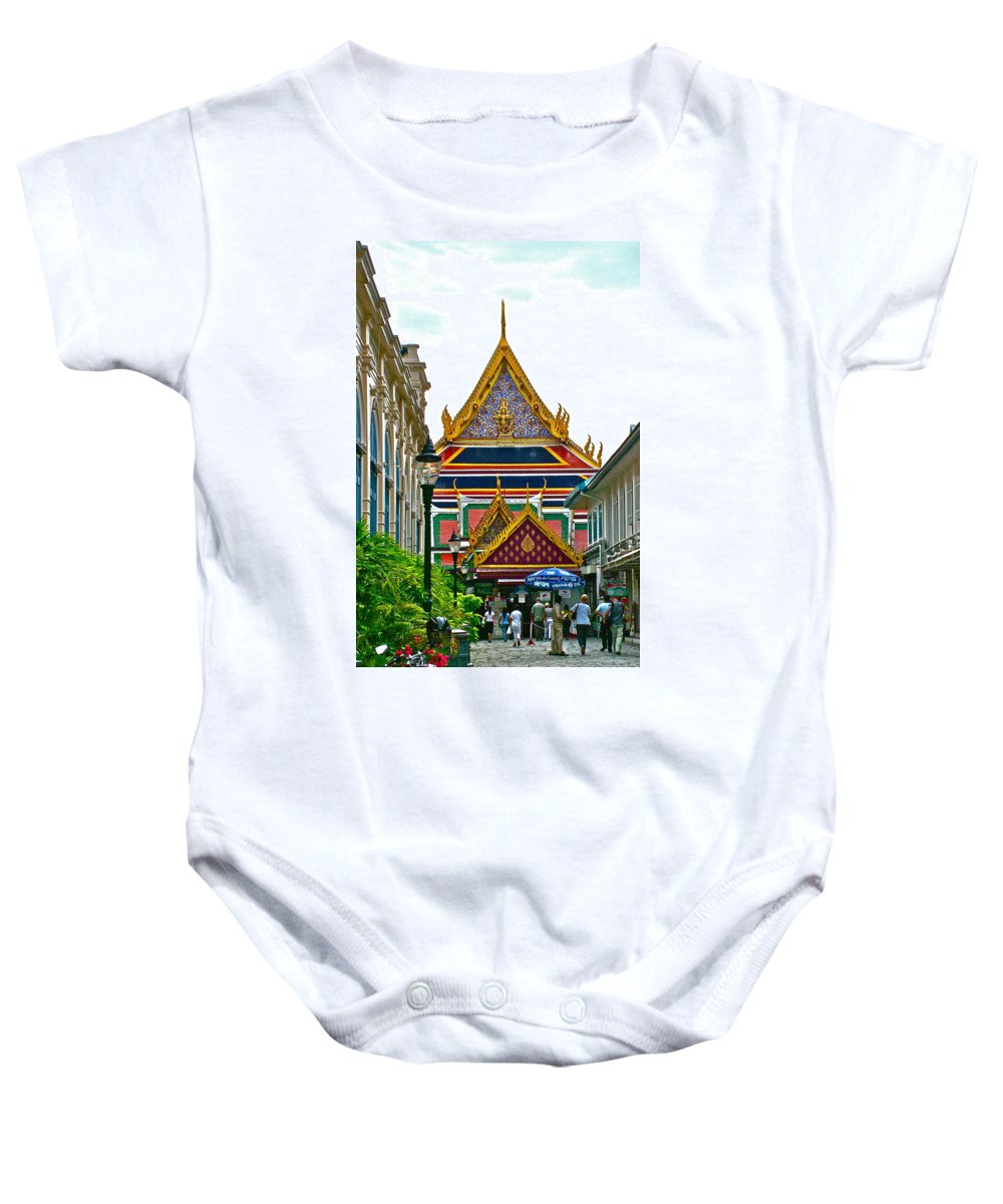Entryway To Middle Court Of Grand Palace Of Thailand In Bangkok Baby Onesie featuring the photograph Entryway To Middle Court Of Grand Palace Of Thailand In Bangkok by Ruth Hager