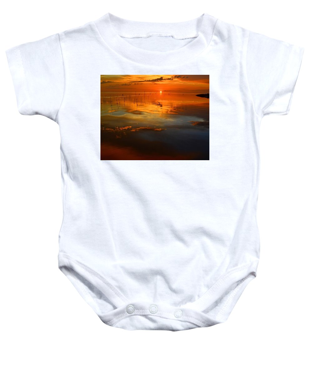 Great Blue Heron Baby Onesie featuring the photograph Evening Fishing by Stuart Harrison