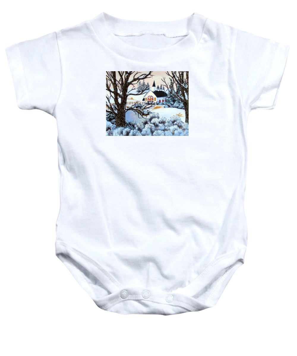 Barbara Griffin Baby Onesie featuring the painting Evening Services by Barbara Griffin