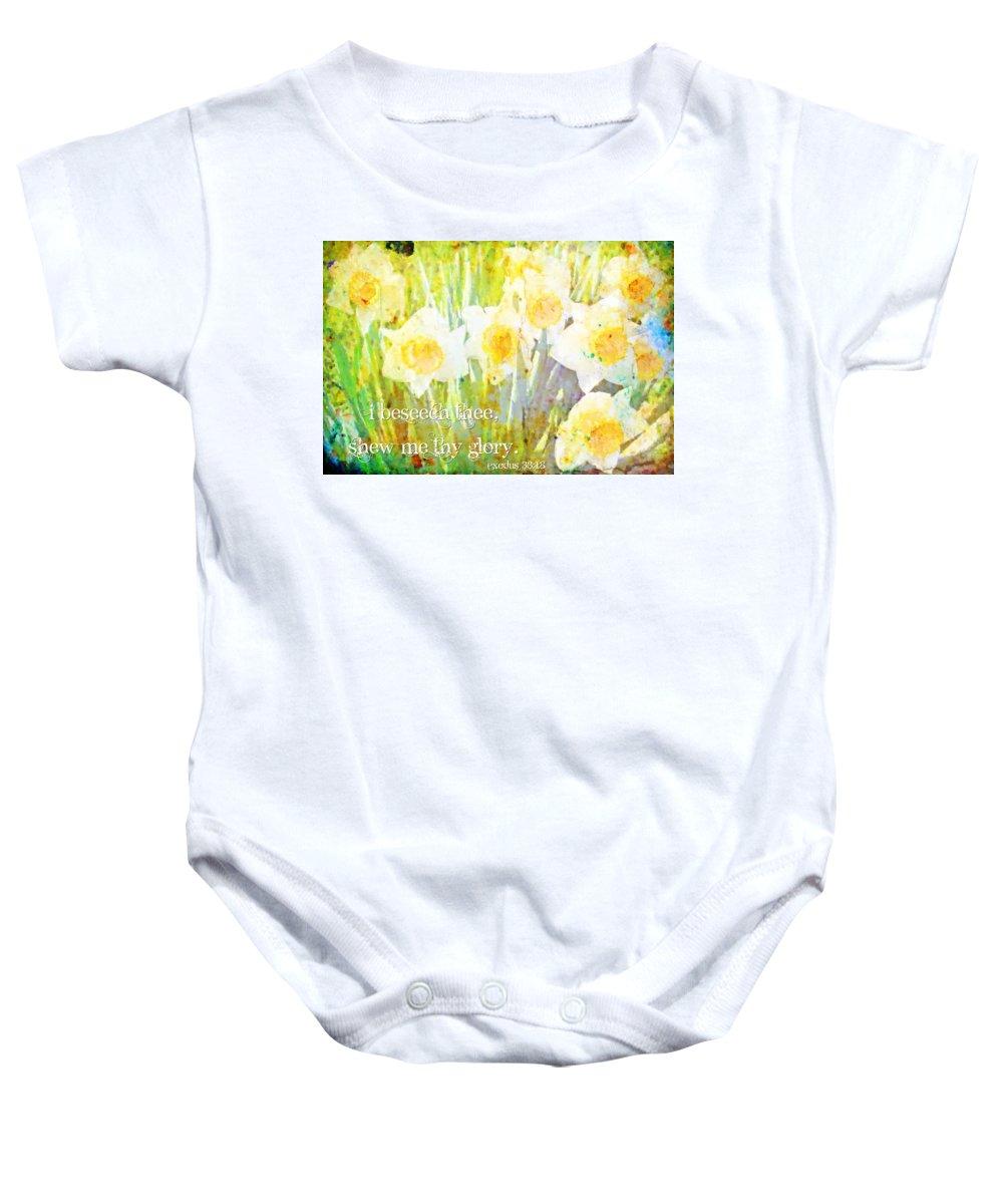 Jesus Baby Onesie featuring the digital art Exodus 33 18 by Michelle Greene Wheeler