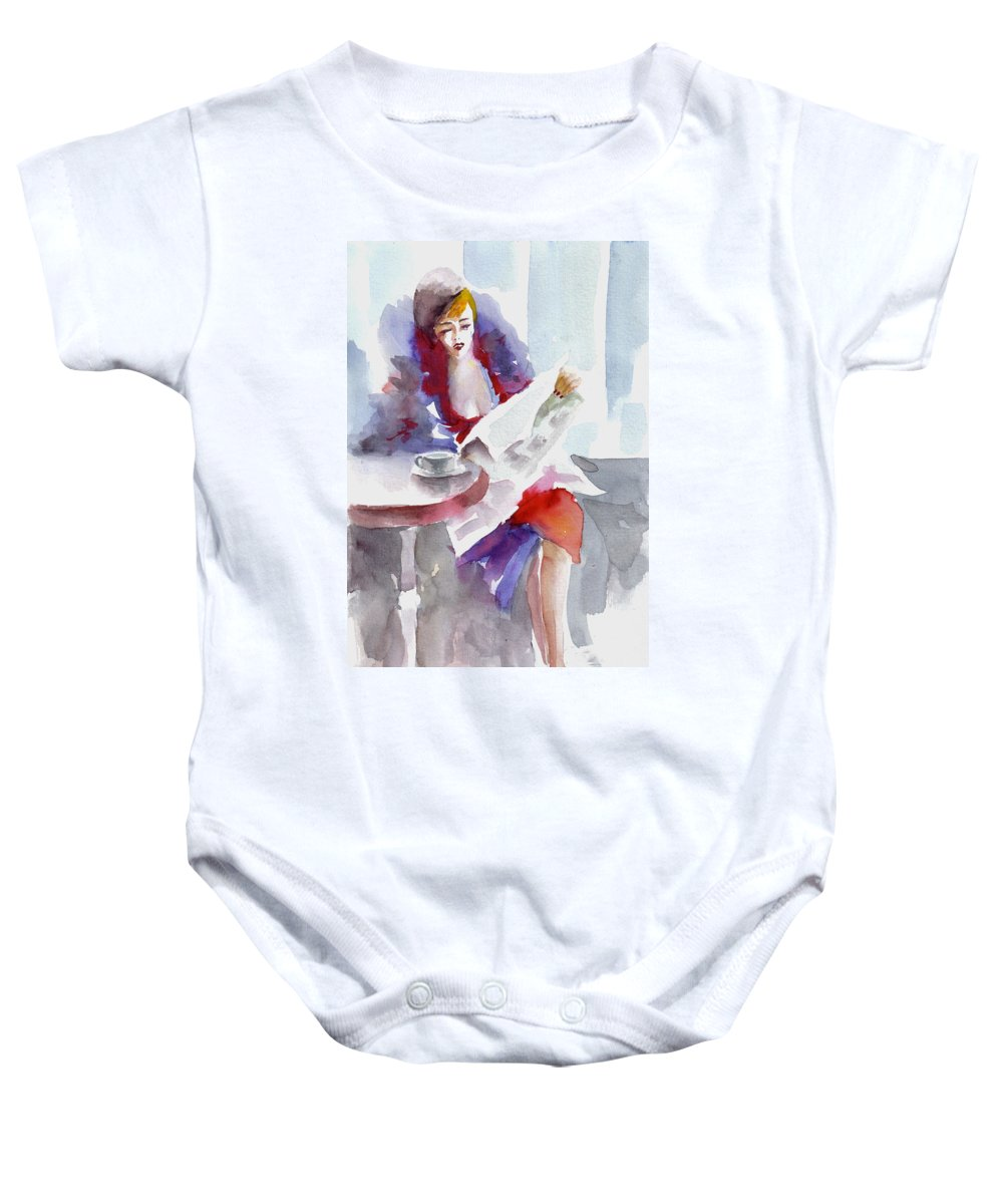 Woman Baby Onesie featuring the painting Expectation.. by Faruk Koksal