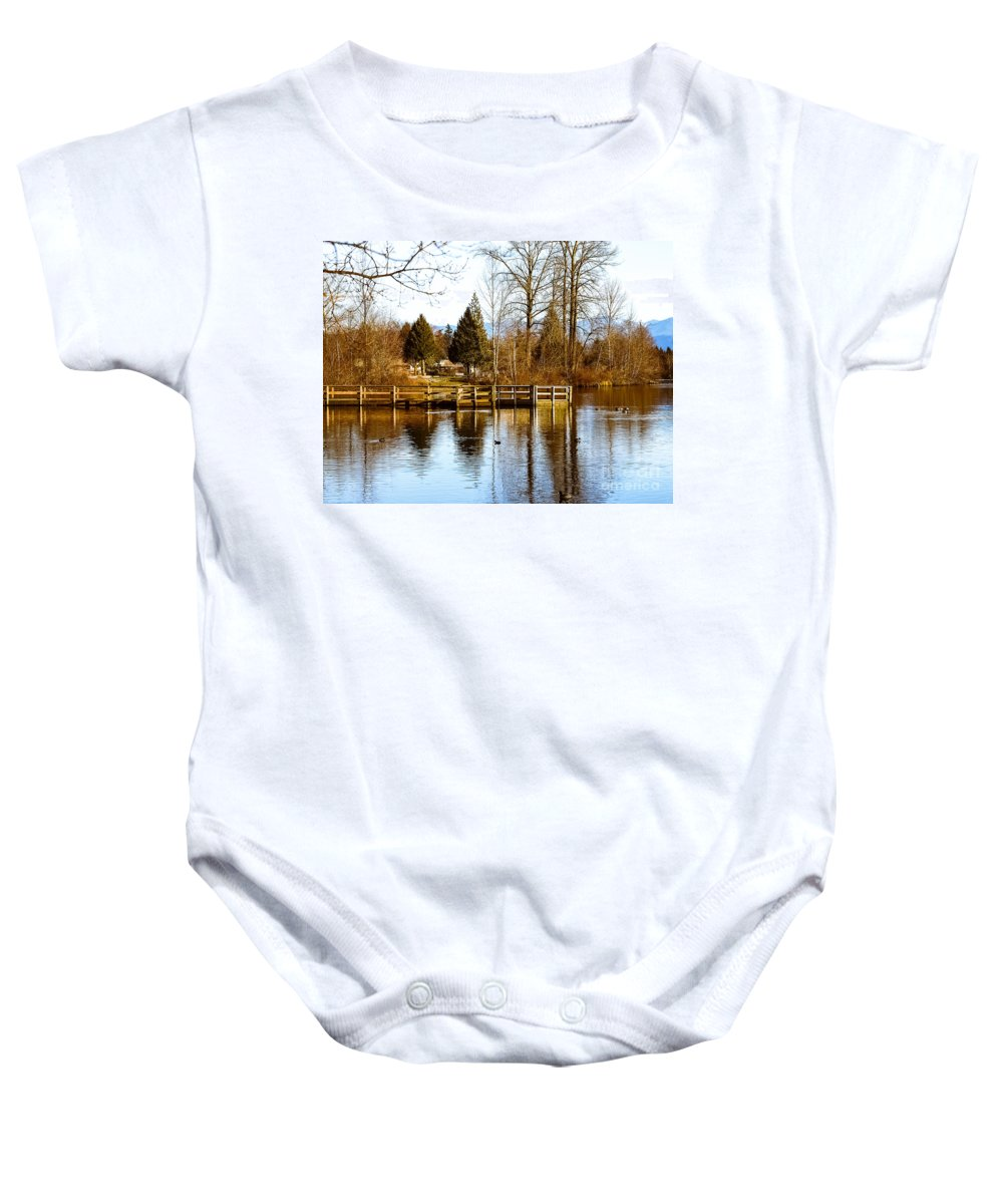 Lake Baby Onesie featuring the photograph F2110940 by David Fabian