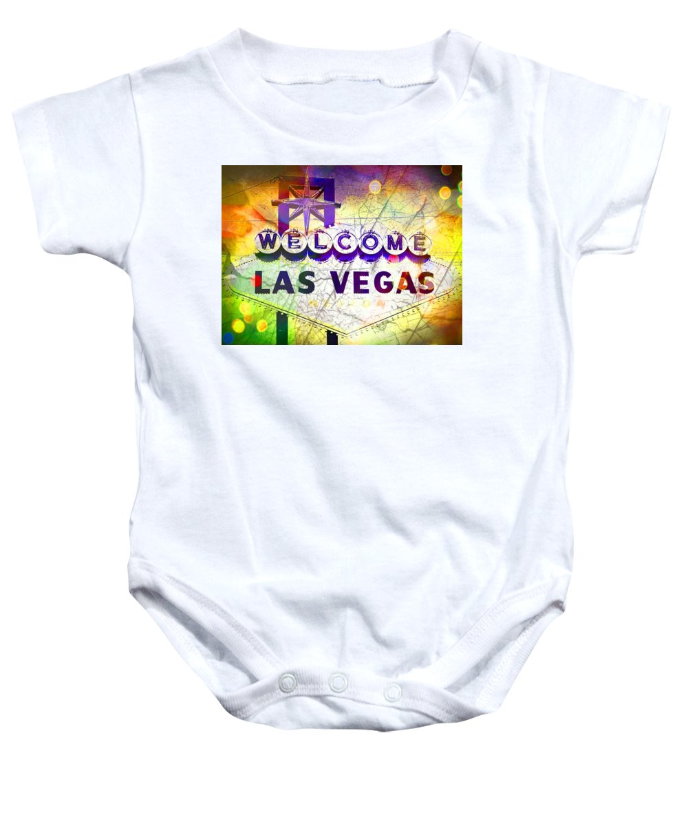 Las Vegas Baby Onesie featuring the mixed media Fabulous Las Vegas by Michelle Dallocchio