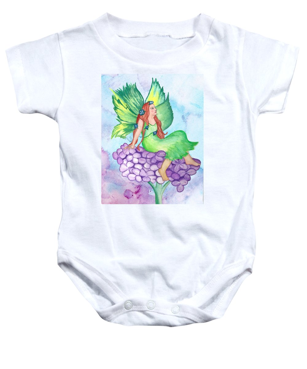 Fairy Baby Onesie featuring the painting Fairy On Lilac by Susan Lyon