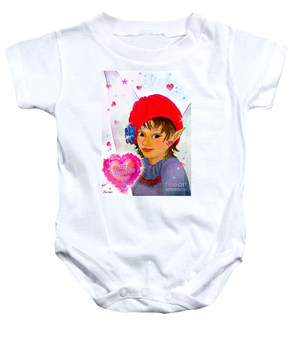 Fairy Baby Onesie featuring the painting Fairy Valentine by Teresa Ascone