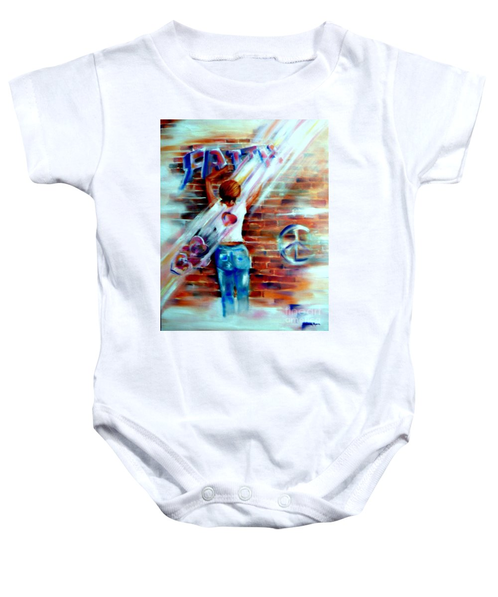 Orayers Baby Onesie featuring the painting Faith...within Reach by Sandy Ryan