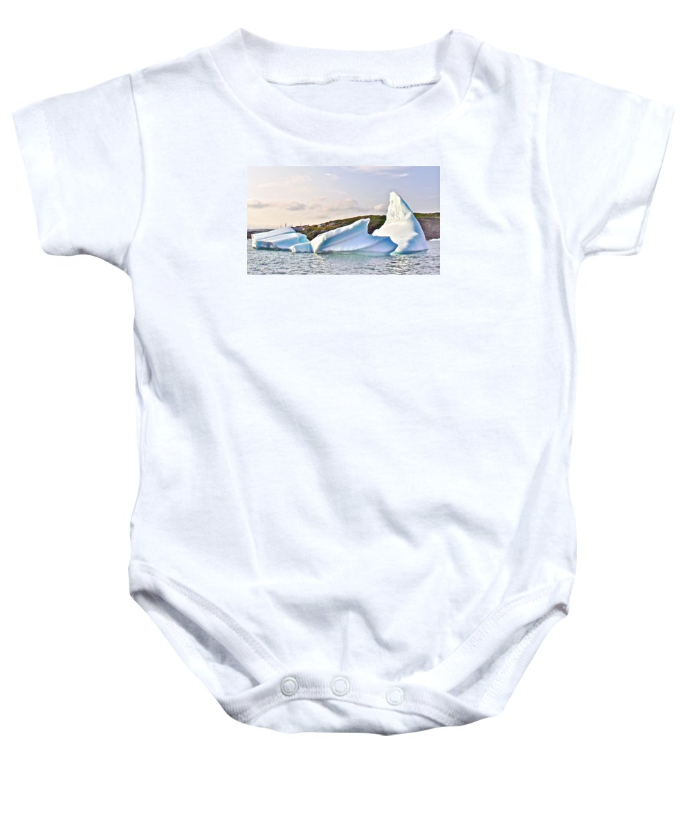 Fallen Clouds Icebergs In Saint Anthony Bay Baby Onesie featuring the photograph Fallen Clouds Icebergs In Saint Anthony Bay-newfoundland-canada by Ruth Hager