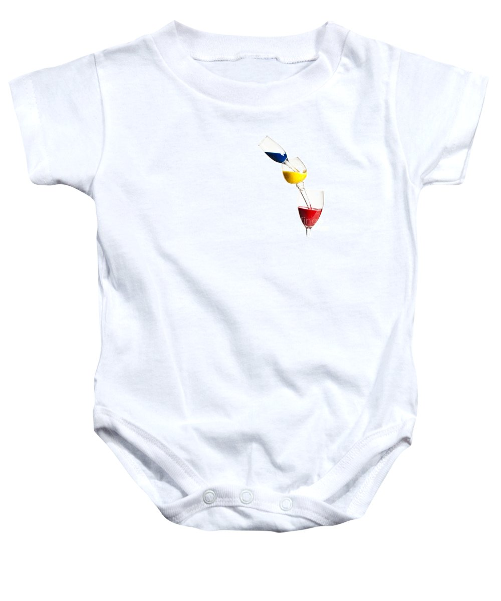 Variation Baby Onesie featuring the photograph Falling Glasses Of Paint by Guy Viner