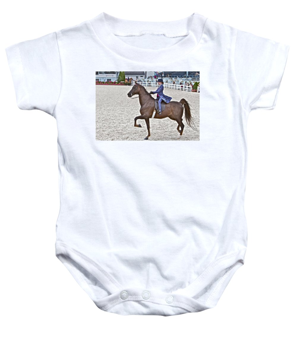Horse Saddlebred Rider Devon Horse Show Gaited Baby Onesie featuring the photograph Fancy by Alice Gipson