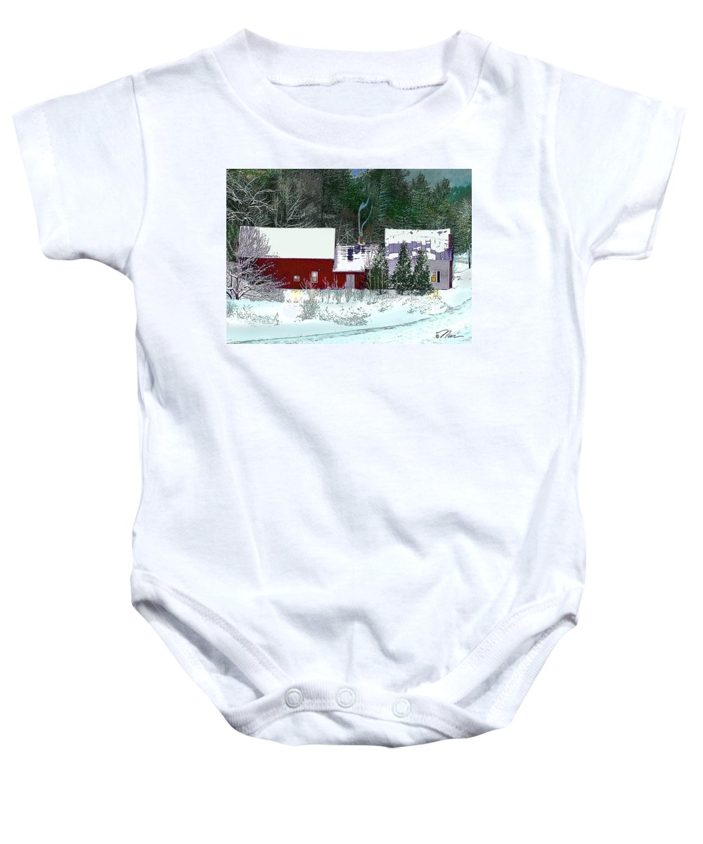 Vermont Baby Onesie featuring the digital art Farmhouse In Winter by Nancy Griswold