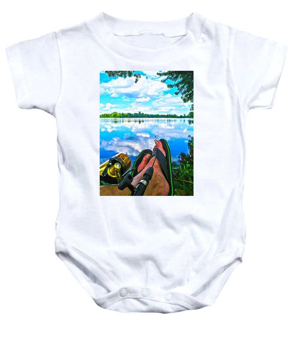 Crab Orchard Lake Wildlife Preserve Baby Onesie featuring the photograph Feet Up Fishing Crab Orchard Lake by Jeff Kurtz