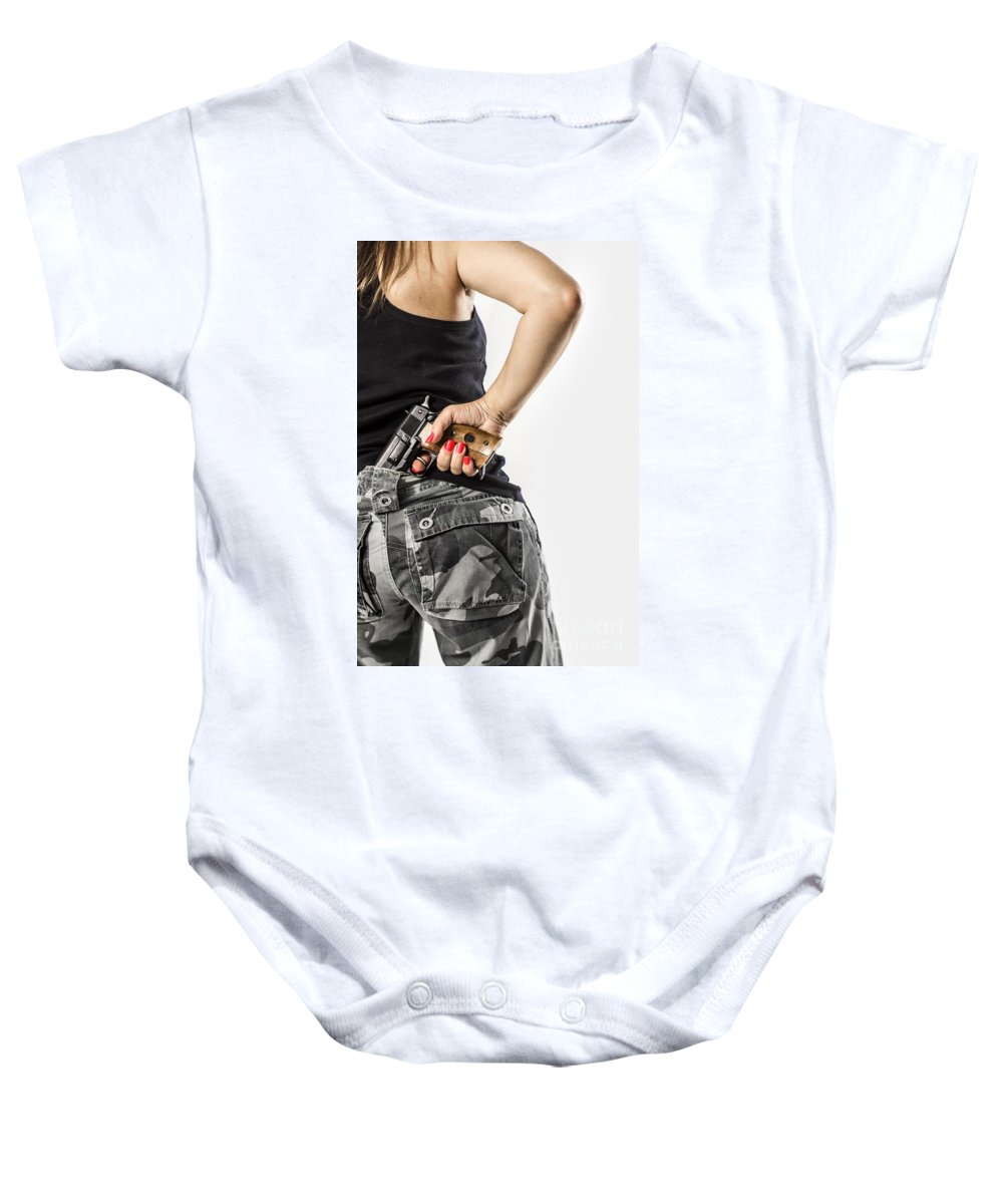 Draw Baby Onesie featuring the photograph Feminin Agent by Carlos Caetano