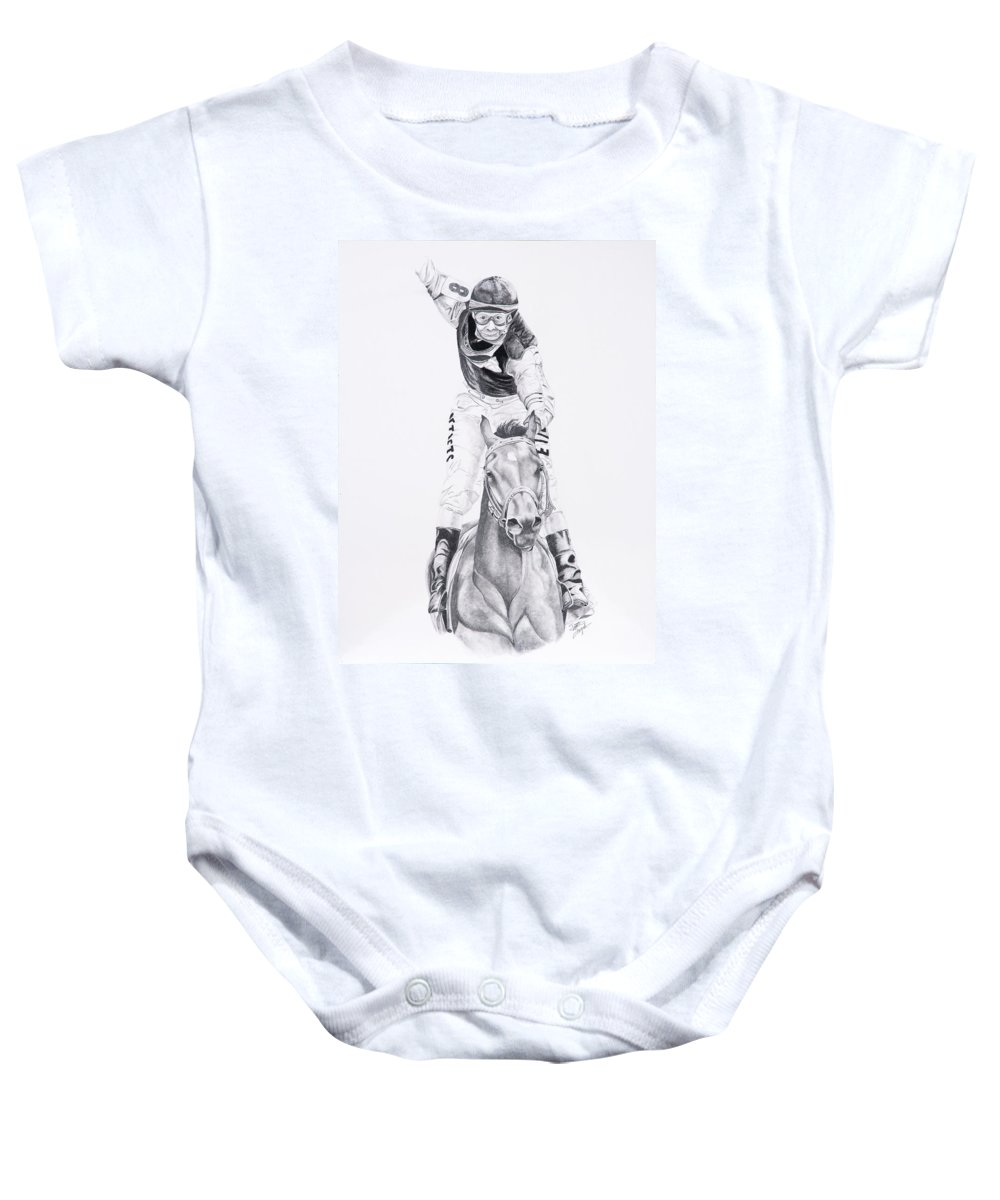 Horses Baby Onesie featuring the drawing Fifty To One What by Joette Snyder