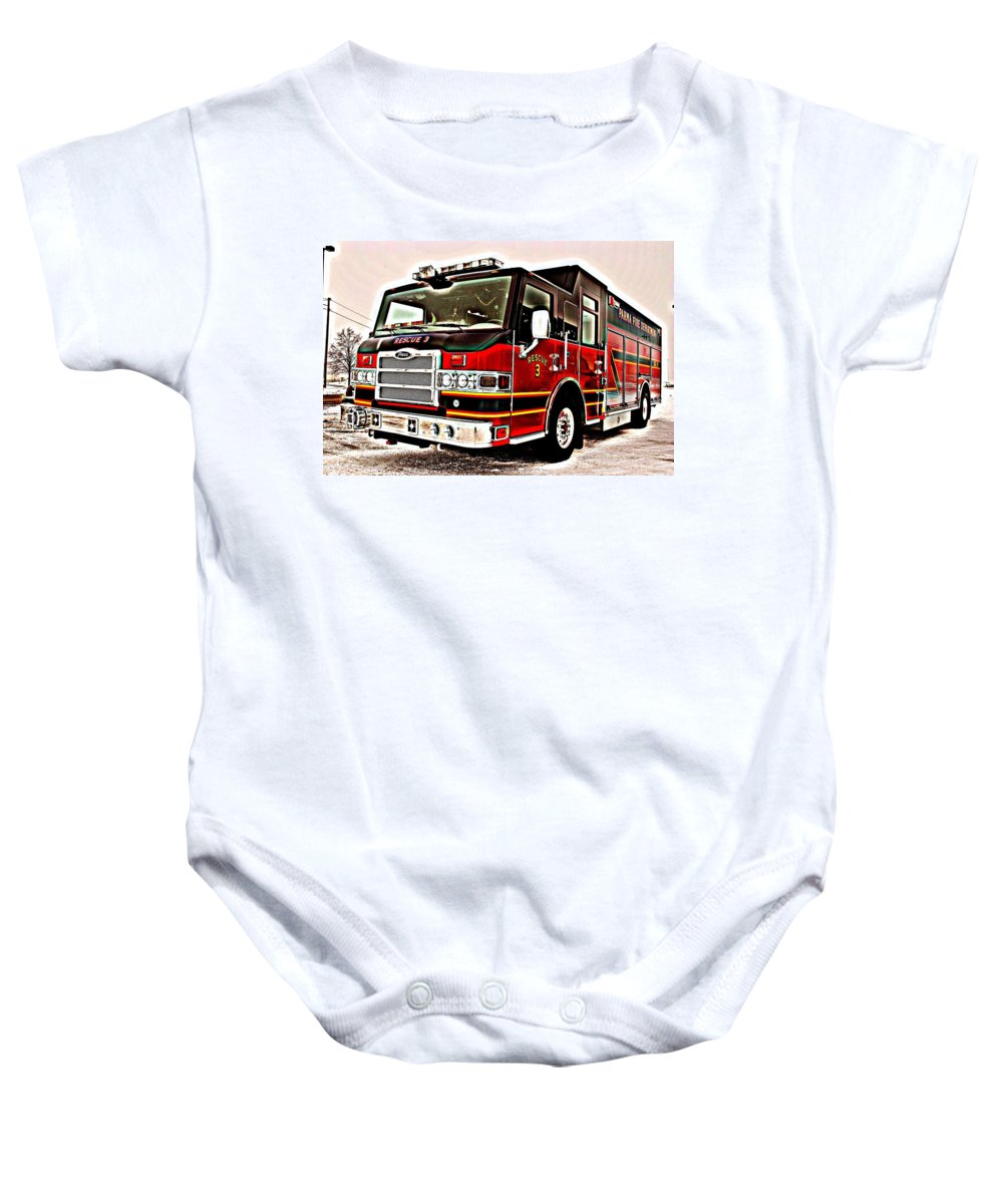 Fire Baby Onesie featuring the photograph Fire Engine Red by Frozen in Time Fine Art Photography