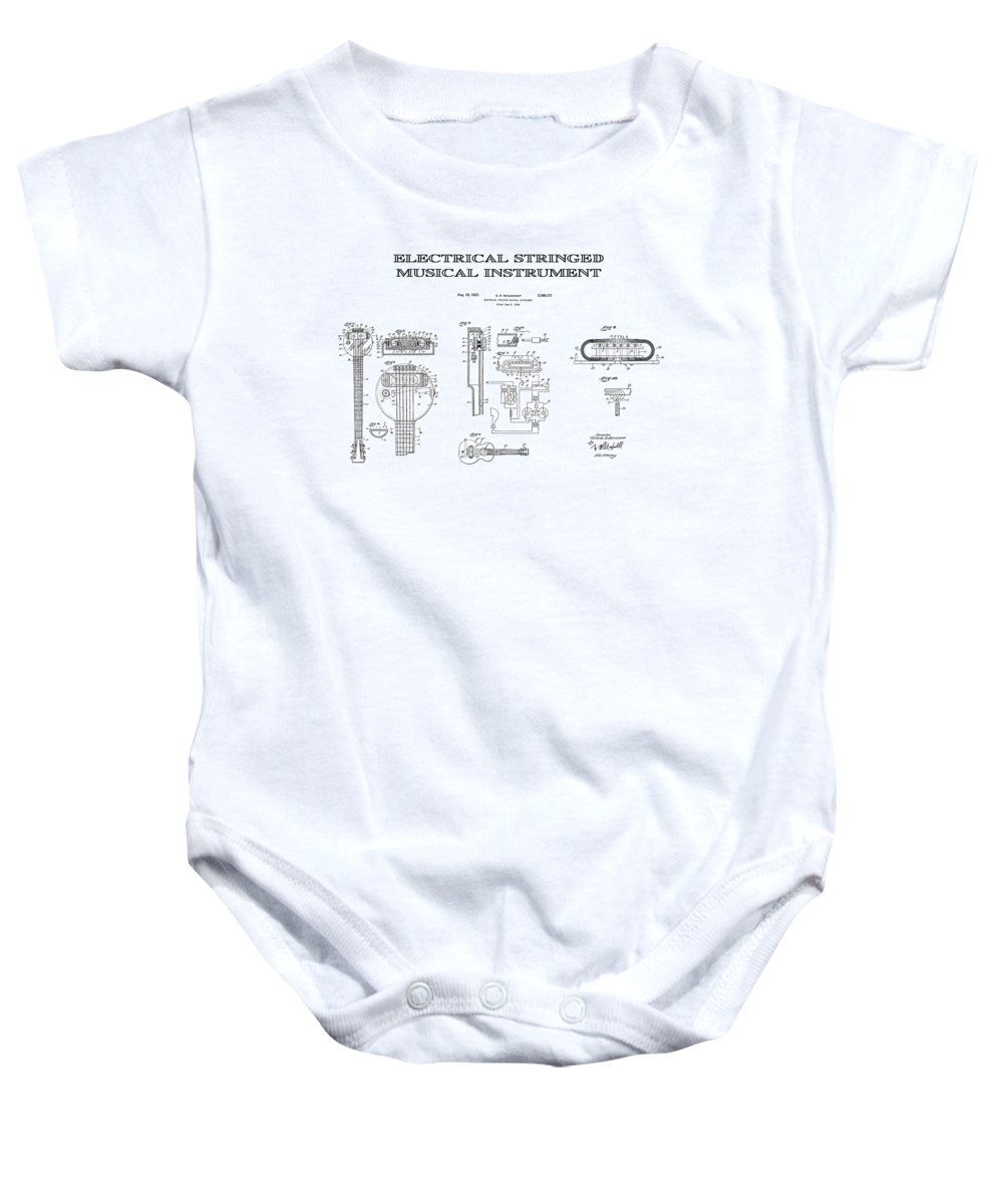 Guitar Baby Onesie featuring the digital art First Electric Guitar Patent Art 1937 by Daniel Hagerman
