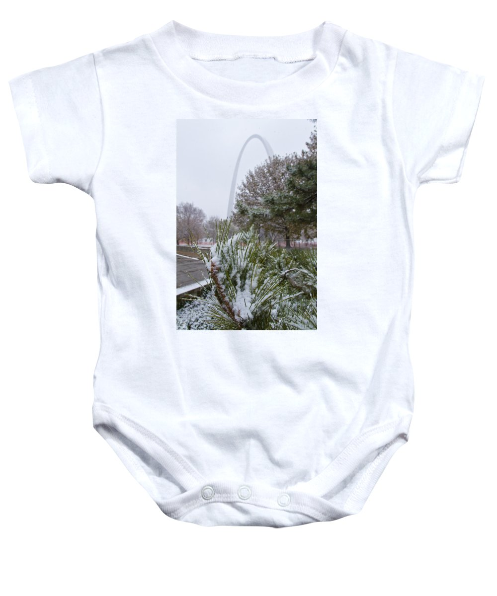 St Louis Baby Onesie featuring the photograph First Snow Of The Season by Garry McMichael