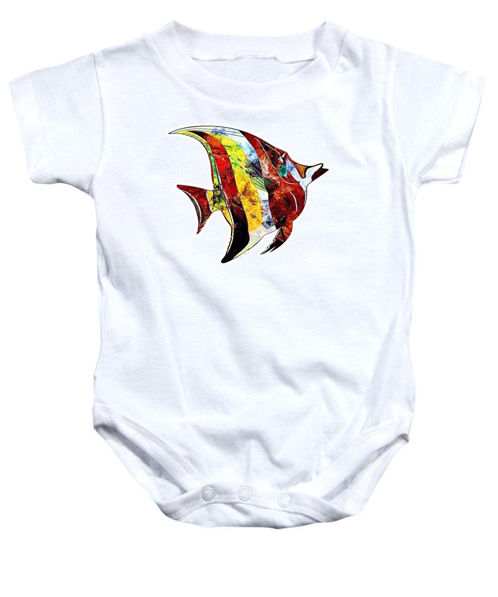 Abstract Baby Onesie featuring the digital art Fish 505-11-13 Marucii by Marek Lutek
