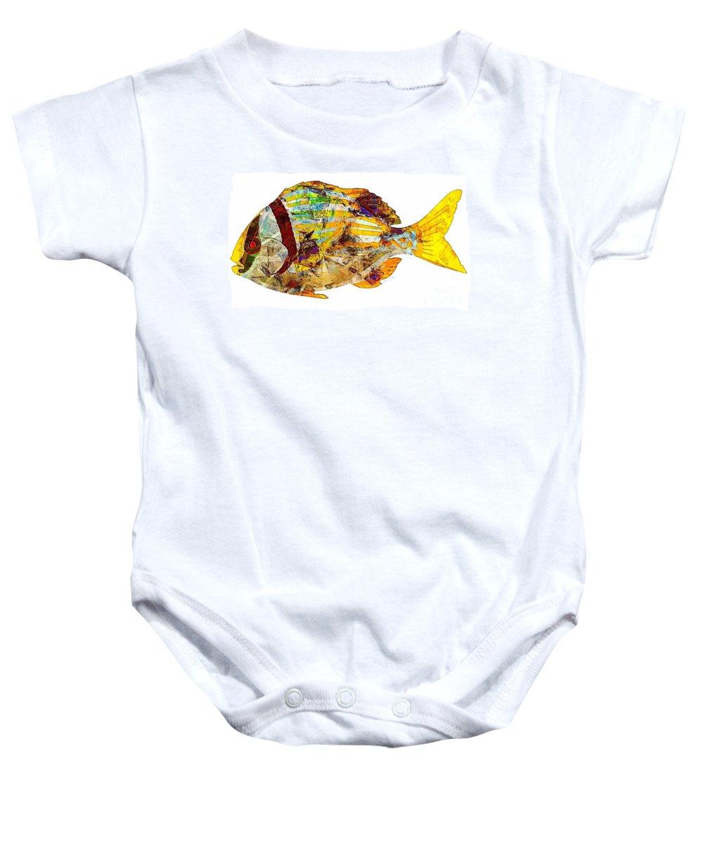 Abstract Baby Onesie featuring the digital art Fish 506-11-13 Marucii by Marek Lutek