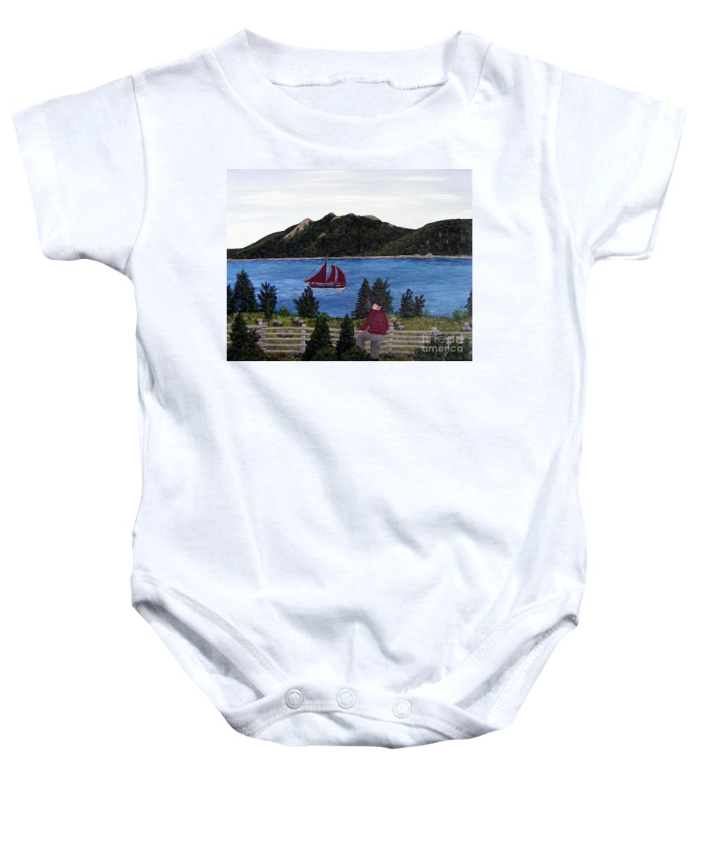 Ship Baby Onesie featuring the painting Fishing Schooner by Barbara Griffin