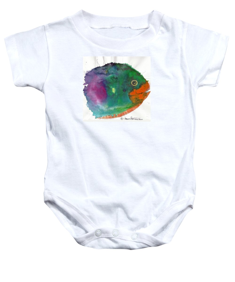 Fish Baby Onesie featuring the painting Fishy by Joan Hartenstein