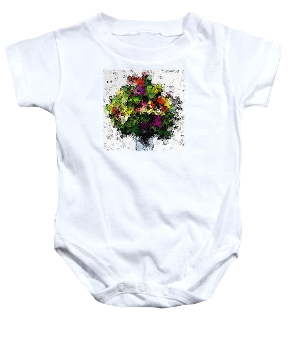 Abstract Baby Onesie featuring the painting Floral A3 by Sergio B