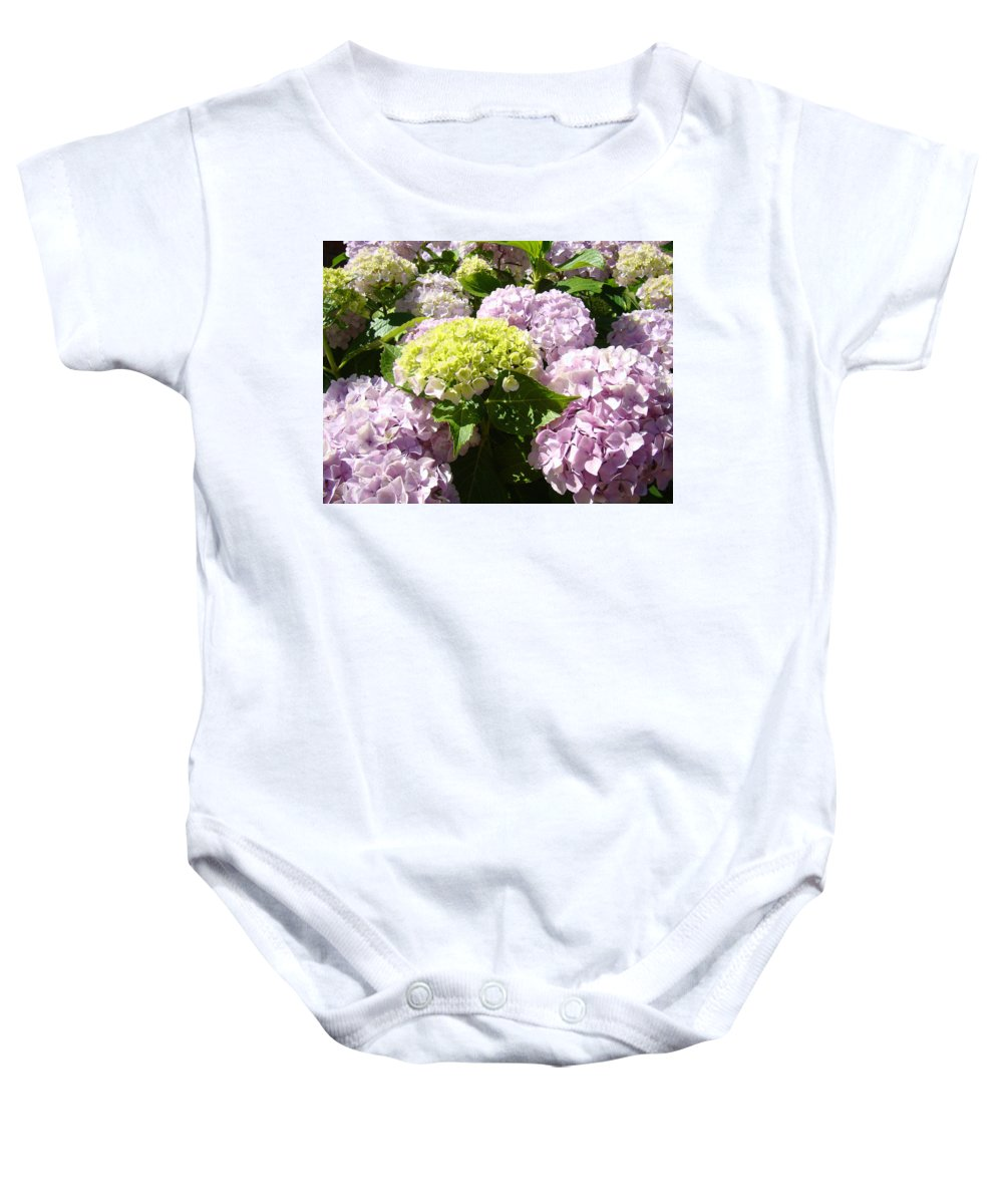 Nature Baby Onesie featuring the photograph Floral Pink Lavender Hydrangea Garden Art Prints by Baslee Troutman