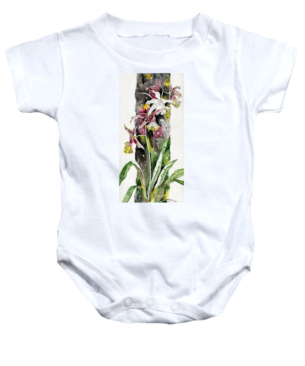 Art Baby Onesie featuring the painting Flower Orchid 03 Elena Yakubovich by Elena Yakubovich