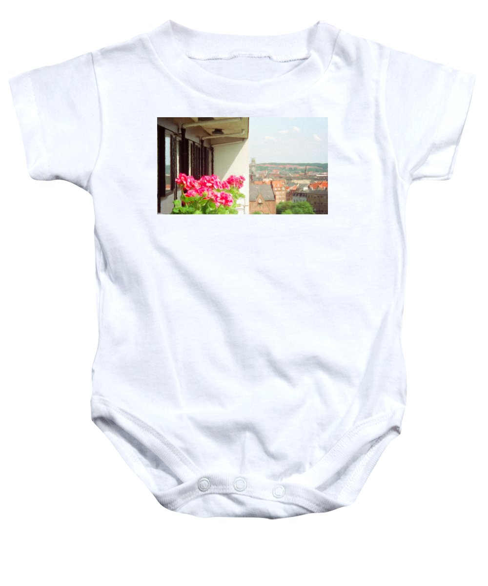 Aarhus Baby Onesie featuring the painting Flowers On The Balcony by Jeffrey Kolker