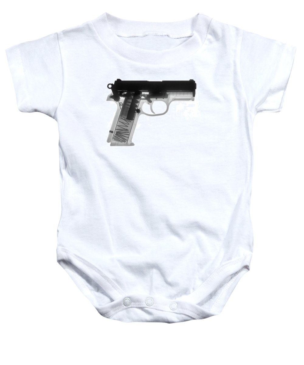 Gun Collectible Baby Onesie featuring the photograph Fn P9a Hand Gun X-ray Print by Ray Gunz