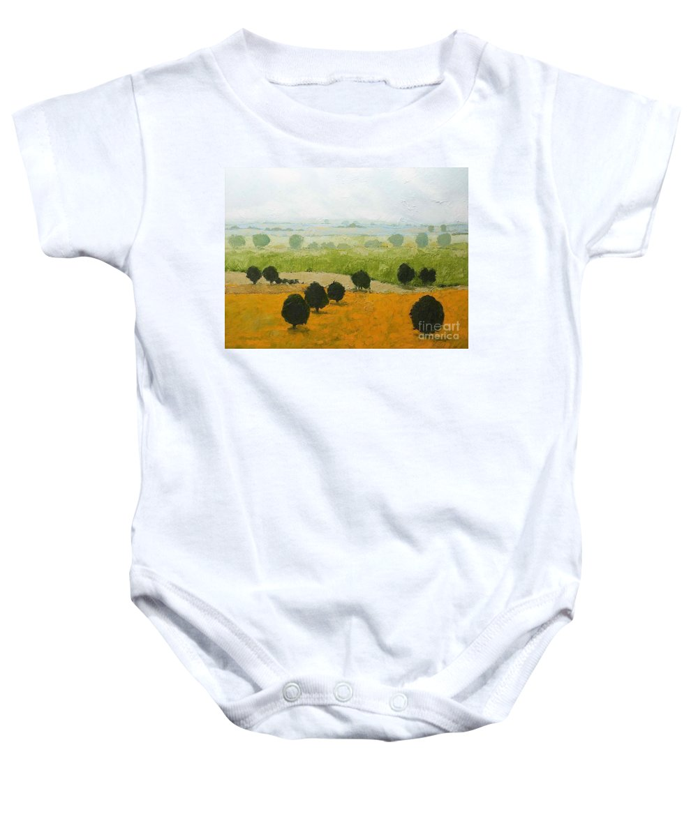 Landscape Baby Onesie featuring the painting Fog Lifting Fast by Allan P Friedlander