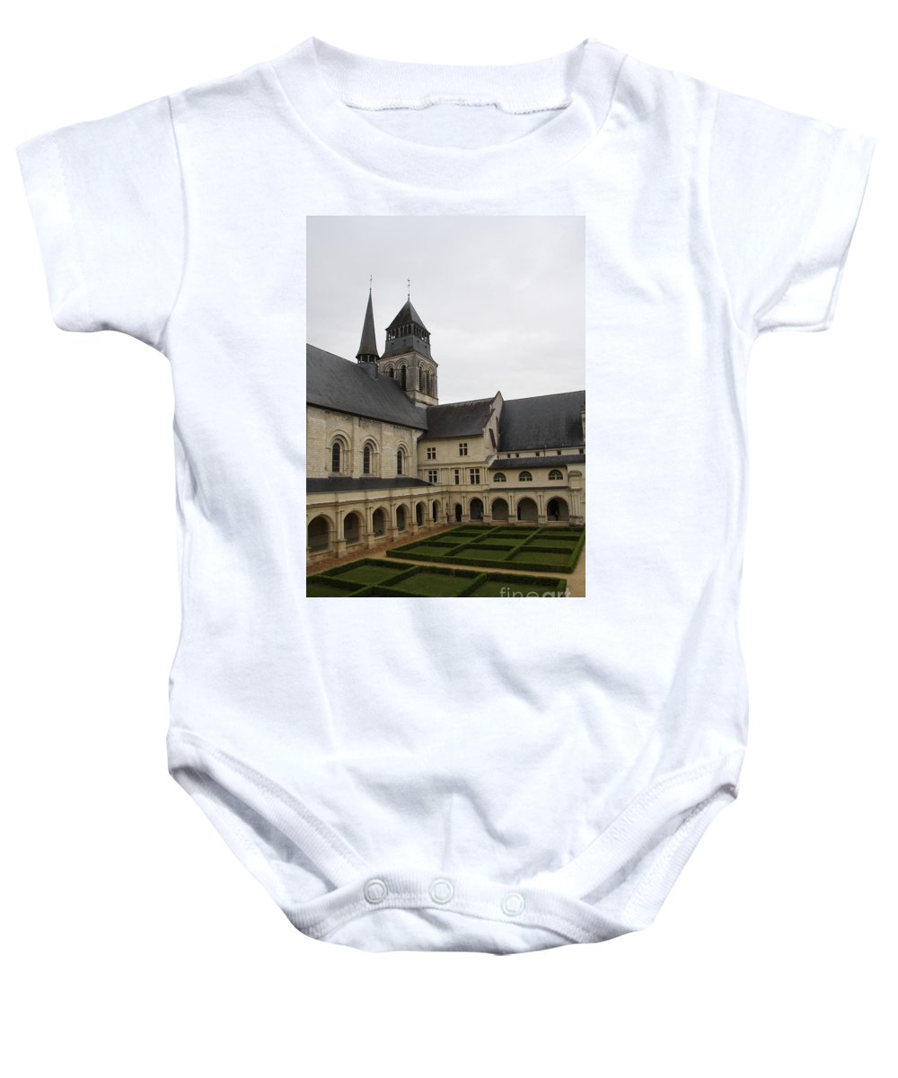 Cloister Baby Onesie featuring the photograph Fontevraud Abbey Courtyard - France by Christiane Schulze Art And Photography