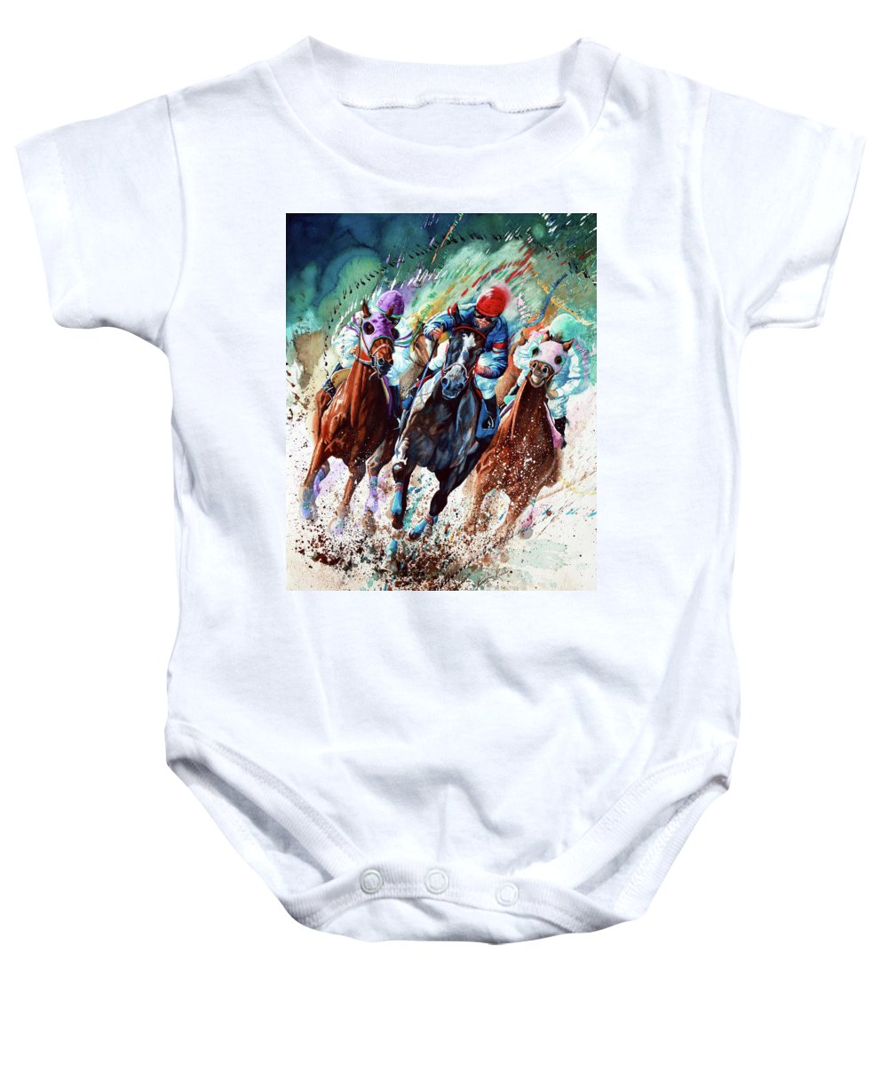 Sports Art Baby Onesie featuring the painting For The Roses by Hanne Lore Koehler