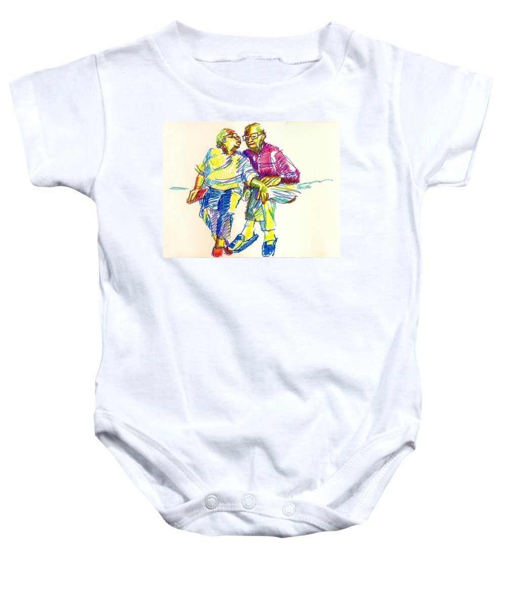 Couple Baby Onesie featuring the drawing Forever Love by Charles M Williams