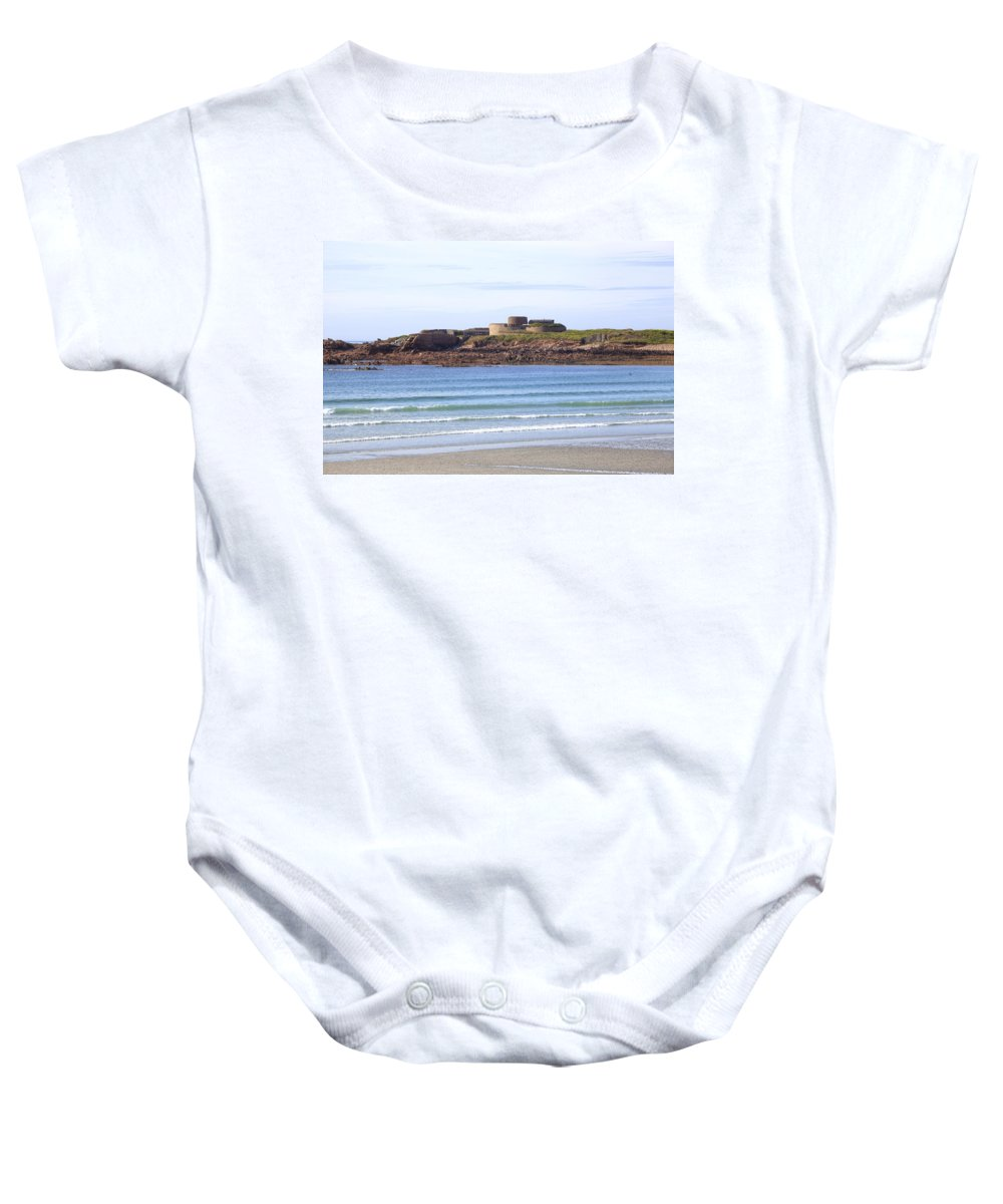Fort Hommet Baby Onesie featuring the photograph Fort Hommet - Guernsey by Joana Kruse