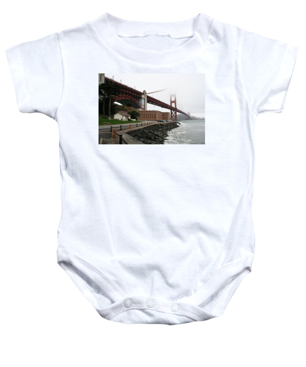 Bridge Baby Onesie featuring the photograph Fort Point And Golden Gate by Christiane Schulze Art And Photography