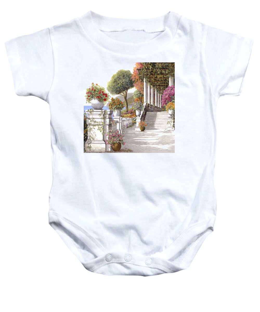Summer Baby Onesie featuring the painting four seasons-summer on lake Como by Guido Borelli
