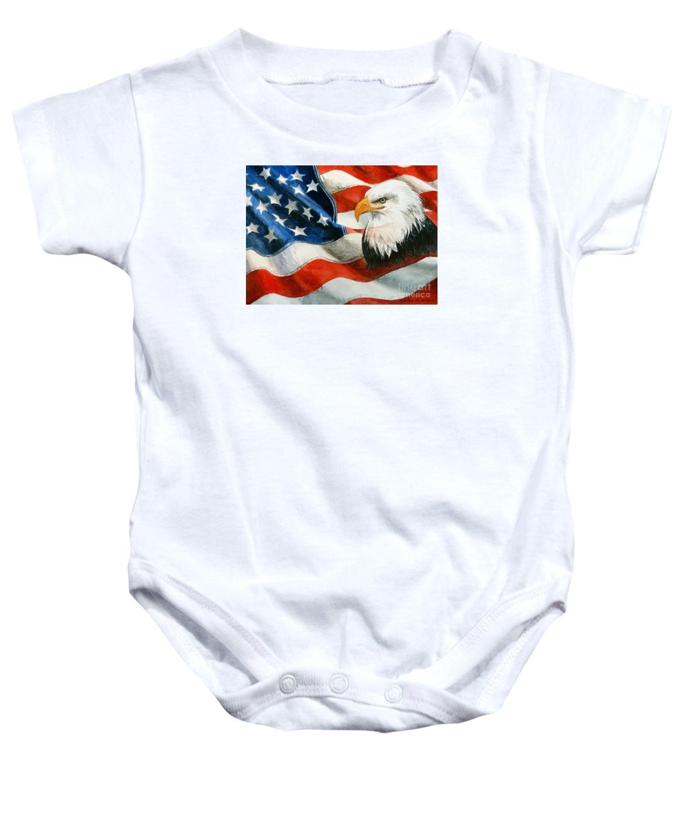 Patriotic Baby Onesie featuring the painting Freedom by Andrew Read