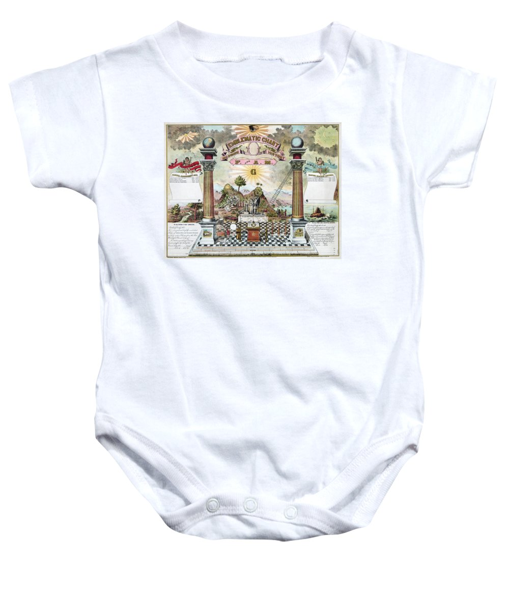 1870s Baby Onesie featuring the photograph Freemason Emblematic Chart by Granger