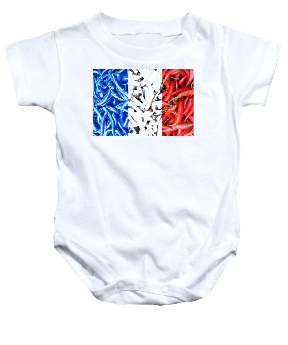 French Connection Blue White Red Chili Spicy Hot Flag Nation France Drapeau Vegetable Baby Onesie featuring the photograph French Connection by Steve K
