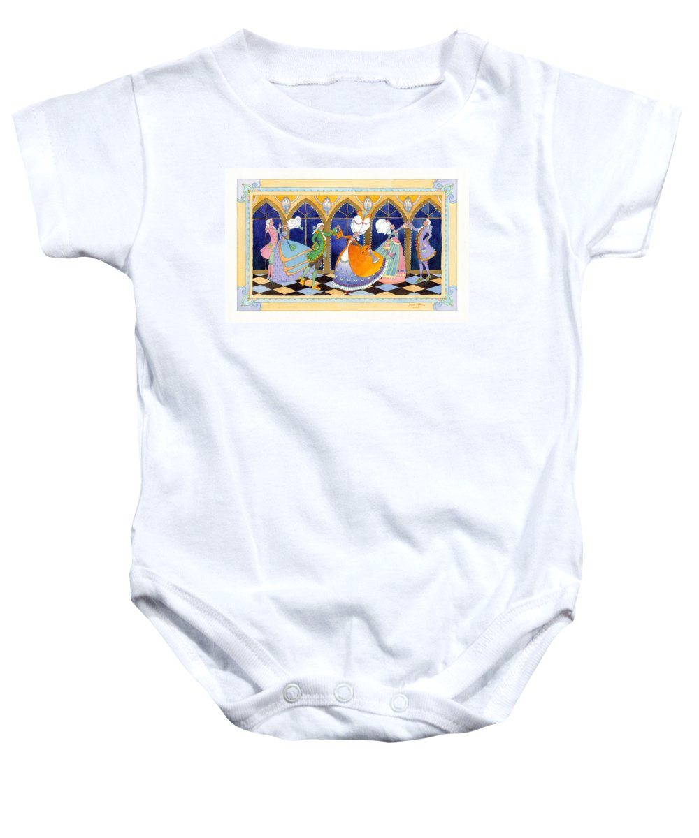 Baby Onesie featuring the painting French Dream Dance by Heidi White