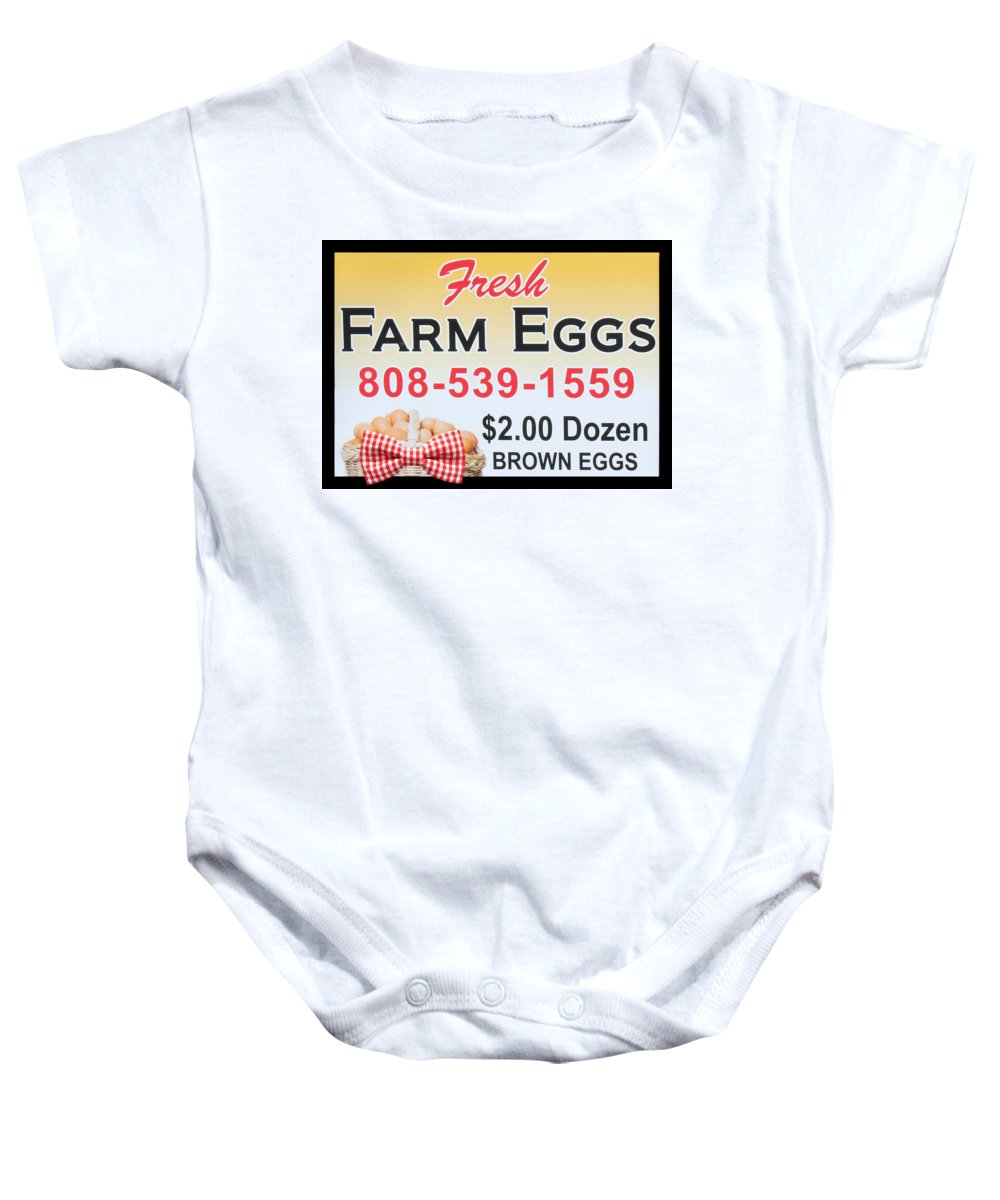 Country Kitchen Baby Onesie featuring the photograph Fresh Farm Eggs by Sylvia Thornton