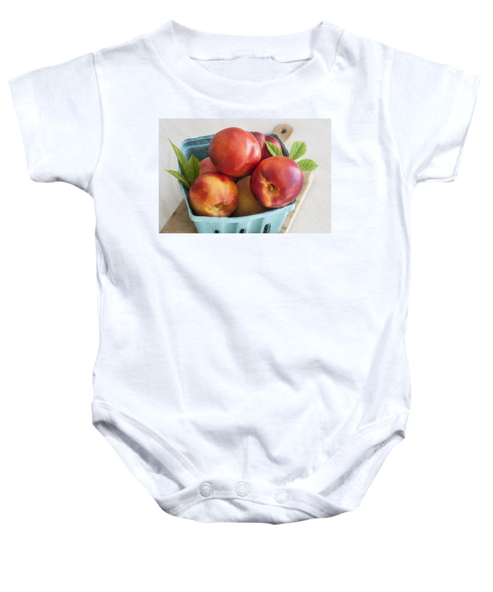 Nectarines Baby Onesie featuring the photograph Fresh Nectarines by Rich Franco